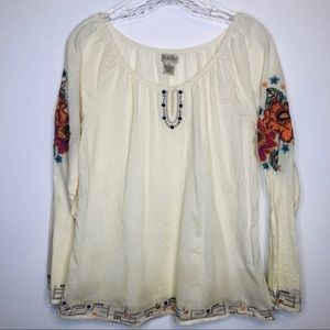 Lucky Brand Blouse With Floral Embroidery Size M